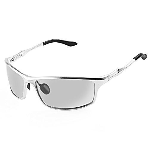 DUCO Herren Sportbrille Polarisierte Sonnenbrille Fahrerbrille 8201 (Silber)