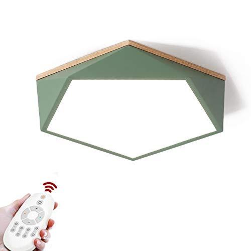 CUICANH Moderner Deckenleuchte, Led 24w Dimmbar Nordische Einfache Geometrie Schlanke Versenkte Befestigung Eisen Holz Deckenlampe Für Schlafzimmer Küche-grün-fernbedienung 40x10cm -