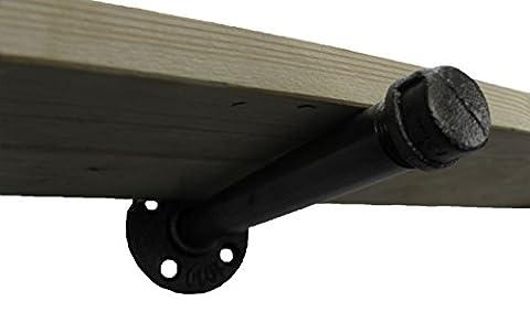 Irwost - L'Original - Support étagère type droite couleur acier poli pour étagère, pied de table ou meuble de style deco design industriel rétro.