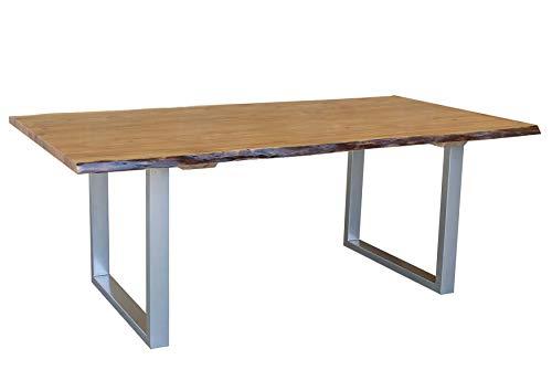 MASSIVMOEBEL24.DE Massiv Esstisch Baumkante Baumtisch Akazie 220x100x76 walnuss lackiert Freeform2#04