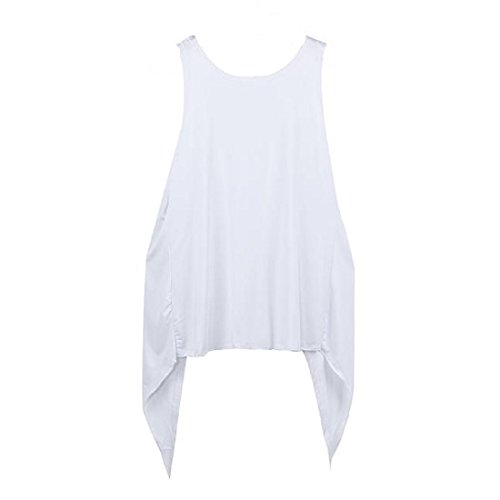 Ularma Damen Langarm Bluse Baumwolle Lose T-Shirts Weste Cool Spezielle Design Weiß