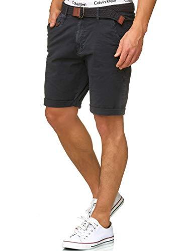 Indicode Kidd Chino Bermuda Shorts mit Ton-in-Ton Gürtel Navy S
