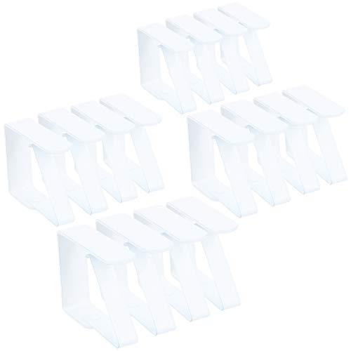 com-four® 16x Premium Tischdeckenklammer - Tischklammern aus Edelstahl - Tischtuchklammer rostfrei für drinnen und draußen (Weiß - 16 Stück)