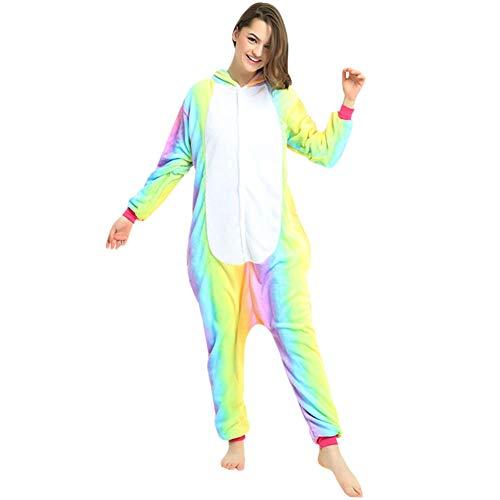 Jumpsuit Für Kostüm Erwachsene Pferde - LPATTERN Erwachsene Damen/Herren Cartoon Kostüm- Jumpsuit Overall Schlafanzug Pyjamas Einteiler, Regenbogen und Weiß Pferd, XL für Körpergröße 173-185CM