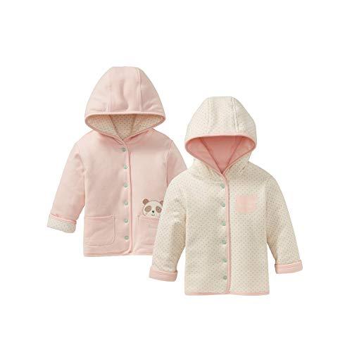 Bornino Wendejacke Panda - wattierte Babyjacke mit Wendefunktion & Kapuze - Jacke mit durchgehender Druckknopfleiste - reine Baumwolle - rosa/offwhite -