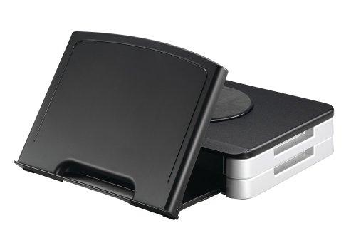 Q-Connect KF10700 - Soporte de escritorio para copiadoras y monitores, negro