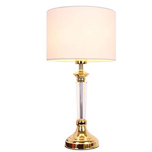 Kristall Tischlampe Glas Messing Basis Wohnzimmer Schlafzimmer Weiß Stoff Beschattung Tischlampe-geeignet Für Schlafzimmer Nachttischlampe [energiestufe A ++] (Size : Remote control) -