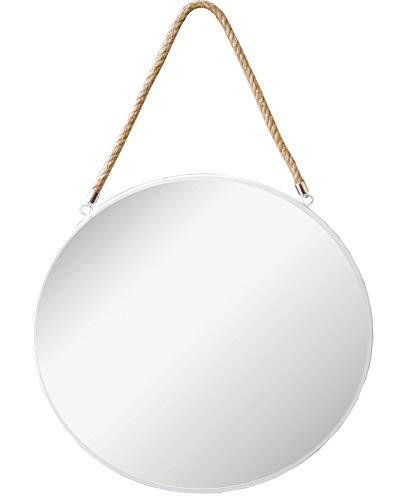 Provance Runder Spiegel Wand- Badezimmer Spiegel Dressing Spiegel, Spiegel, Badezimmer Dekoration, Hängenden Spiegel (Farbe : Weiß, Größe : 43 cm Ø)
