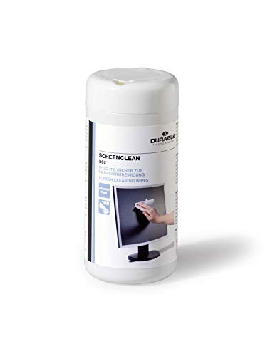 Durable 573602 Bildschirmreiniger (Screenclean Box, Spenderdose) 100 Feuchttücher weiß