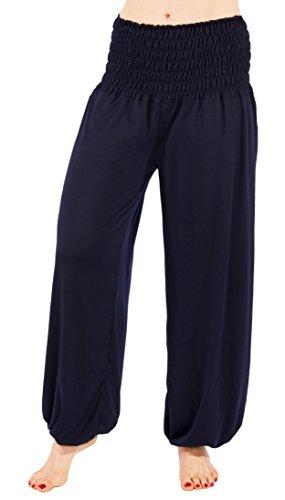 FASHION YOU WANT Damen Haremshose Pumphose Aladinhose Sommerhose Modal Jogginghose Yoga Pilates Stretch Hosen Pants Relax Festivalhose ideal für Sport und Freizeit (38/40, dunkelblau)