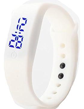 Vovotrade Damen Herren Gummi LED Uhr Datum Sports Armband-Digital-Armbanduhr_Weiß