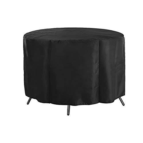 Homeofying Runde UV-Schutz Wasserdicht Staubdicht Outdoor Möbel Garten Tisch Abdeckung Schwarz -