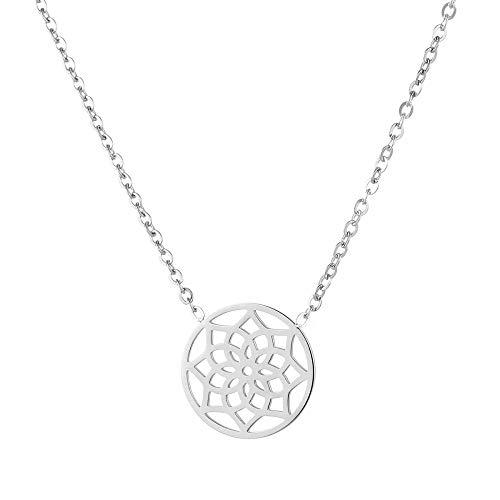 Tara Kette Mandala Edelstahl Yoga Yogaschmuck Hinduismus Talisman Glücksbringer Schutzamulet Farbe Silber