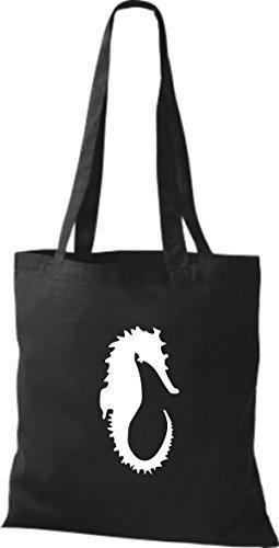 ShirtInStyle Stoffbeutel Seepferd Seepferdchen Baumwolltasche Beutel, diverse Farbe black
