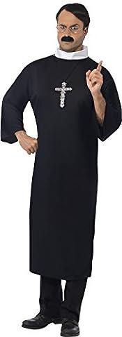 Smiffys Déguisement Homme Prêtre, Robe et collier, Taille M, Couleur: Noir, (Priest Costume)