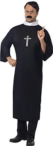 Smiffys, Herren Priester Kostüm, Robe und Kragen, Größe: L, (Kragen Kostüm Priester)