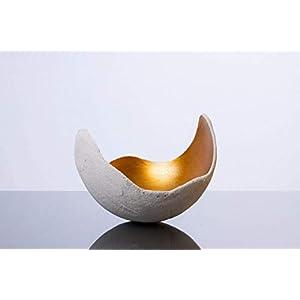 Lichtschale gold - M (20cm) - Beton weiss | Unikat handmade | Geburtstagsgeschenk | Einzigartiges Geschenk | Gartendeko