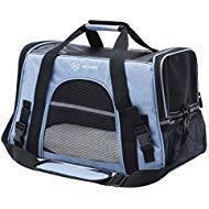Peteme Reise-Transporttasche für Haustiere, weiche Seiten, für Tierarzt/Reisen, Katzen, Welpen, Meerschweinchen, Kaninchen, Frettchen, blau - Buch 2 Etagen