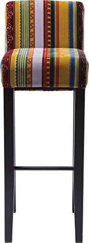 Kare Design Barhocker Very British, Rot-Gelber Barstuhl, Hocker, Farbiger Stoffbezug, Retro Essstuhl aus schwarzem Buchenholz, (H/B/T) 102x37x47cm