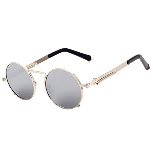 Z-P new retro style round metal color unisex unique sunglasses UV400 (Super Jet Sci)