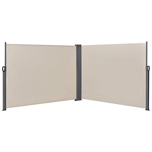 [pro.tec] Double Brise-Soleil Double Pare-Soleil Double Garde-Vue Métal et Polyester Sable 180 x (2 x 300) cm