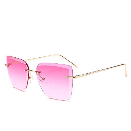 Yangjing-hl Rahmenlose Sonnenbrillen rechteckig Ausschnitt Stück Farbverlauf Sonnenbrille Mode Straße Schießen Wilde Gläser C Farbverlauf rot