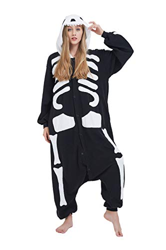 Fandecie Tier Kostüm Tierkostüm Tier Schlafanzug Skelett Pyjamas Jumpsuit Kigurumi Damen Herren Erwachsene Cosplay Tier Fasching Karneval Halloween (Skelett, L:Höhe 170-179cm)