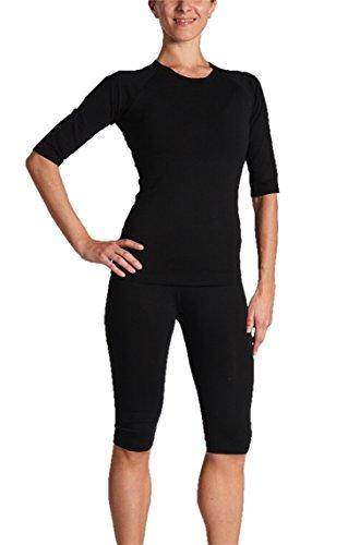 Gina's Bodywear Damen EMS-Wäsche, Trainingsanzug, Oberteil und Hose im Set, Optimale Impulsweiterleitung (Schwarz, L)