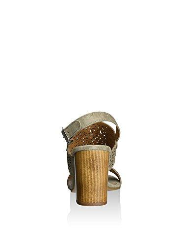 Cafenoir XL621 Sandales à Talons Hauts Femmes Taupe