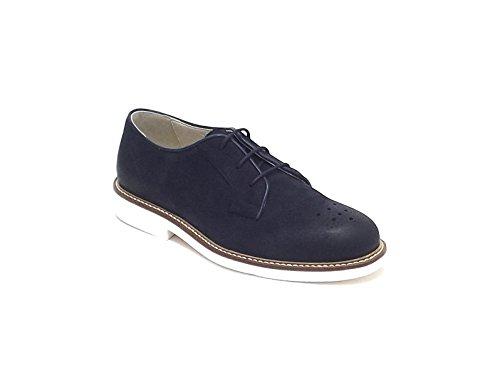 Sausalita scarpa ragazzo, modello stile inglese con lacci, in nabuk,colore blu