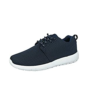 Airtech Mens Ultra Lightweight Lace up Sports Fitness Gym Running Casual Trainers Size 7-12 (UK 9/EU 43, Navy/White)