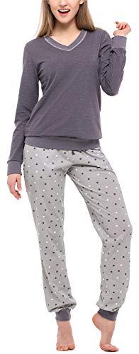 Merry style pigiama manica lunga donna ms10-230 (mélange scuro/grigio, s)
