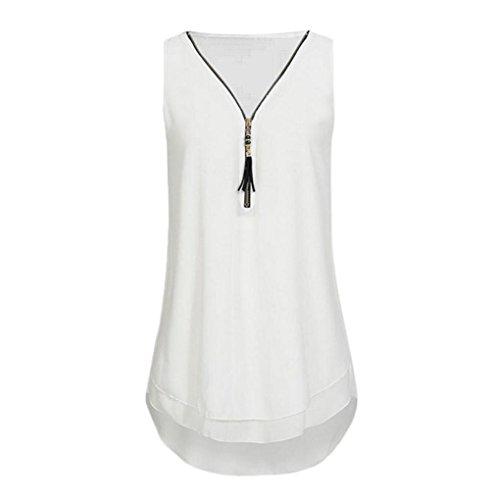Damen Sommer Reißverschluss Tank Crop Tops Vest Tanktops Weste Cami DOLDOA Oberteile T-Shirt Geburtstags Geschenk Für Frauen Mädchen Freundin (EU:50,Weiß - 5)
