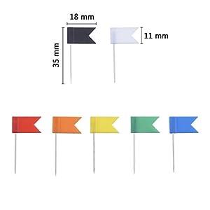 Chinchetas de Bandera para Mapa, 7 Colores Variados, 100 Piezas