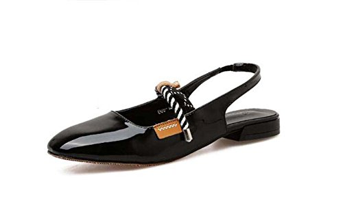 Onfly Frauen Pump Square Toe Slingbacks Sandalen Mary Jane Schuhe Comforty Colormatch Elastisches Band Low Heel Freizeitschuhe OL Court Schuhe Eu Größe 34-40 (Farbe : Schwarz, Größe : 39) Mary Jane Slingback Pumps