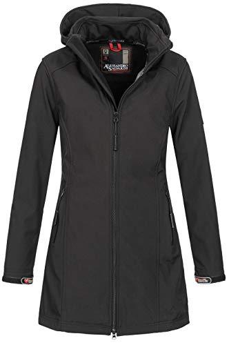 A. Salvarini Damen Softshell Jacke wasserabweisend Outdoor lang AS-131 [AS-131-Schwarz-Gr.