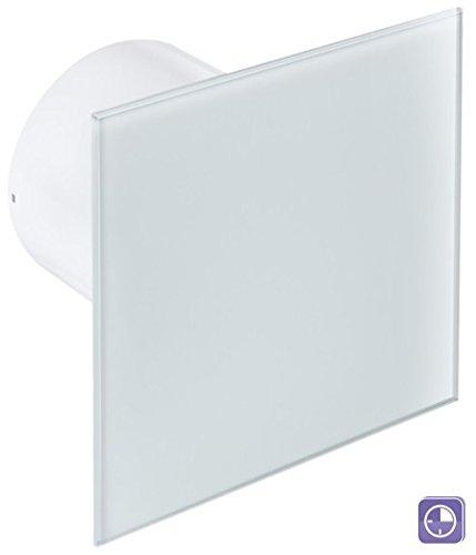 Ø 100 mm Design Badventilator Glasfront mit Timer / Nachlauf und Rückstauklappe WEG100T Lüfter Ventilator Front Wandlüfter Badlüfter Ventilator Einbaulüfter Bad Küche leise Glas 10 cm