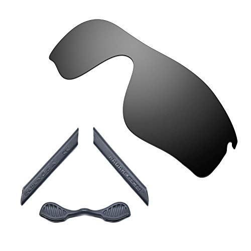 HKUCO For Oakley Radarlock Path Black Polarized Replacement Lenses And Grey Earsocks Rubber Kit