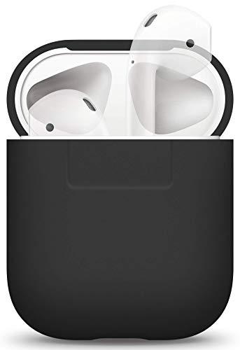 elago Silikonhülle Kompatibel mit Apple AirPods 1 & 2 (LED an der Frontseite Nicht Sichtbar) - [Unterstützt kabelloses Laden] [Stoßfeste Schutzhülle] [Perfekt Passt Hülle] - Schwarz