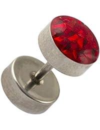 VOTREPIERCING Piercing Oreja Falso Dilatador Acero Quirúrgico 316L Discos & Cristal Rojo 1.2 ...