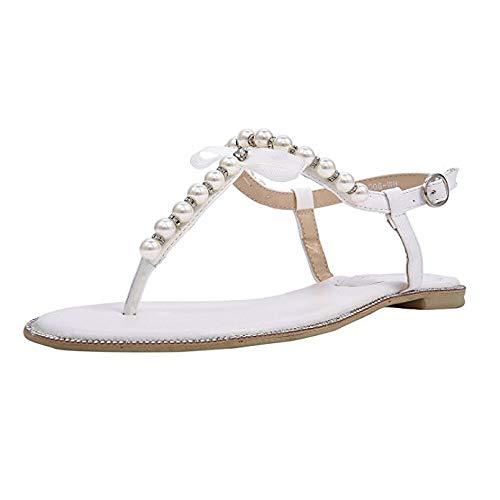SheSole Damen Sandaletten - Flache Damen-Sandalen mit Perlen & Strasssteinen, modische Riemchensandalen, Farbe weiß