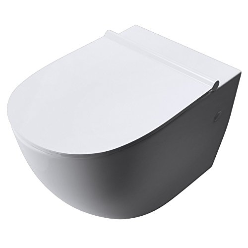 BTH 35,5x56x40 cm Design-Toilette Aachen502 Keramik Silent-Close-Absenkautomatik Toilettendeckel Wand-WC Hänge-WC