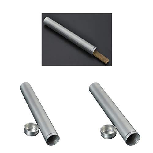 P Prettyia 2pcs Tubo De Cigarros Humidor De Aluminio Clásico Estuche De Puros Almacenamiento Portátil Plata: Amazon.es: Hogar