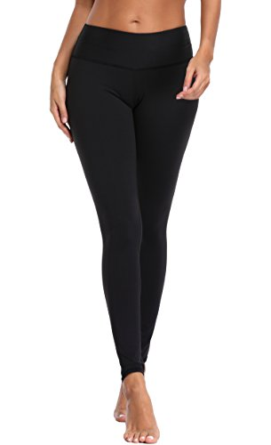Attraco Damen Leggings Sport Leggins High Waist Lauftights Jogginghose Thermo Laufhose Lang Schwarz M (Damen Lange Laufhose)