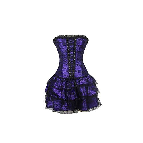 Pevv Wason women corsets Sexy Korsagen und Bustiers Spitze Korsettkleid Plus Größe Kostüm Blumenkleid, Lila, XXXL