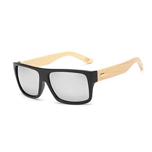 DYFDHA Sonnenbrillen Original Wooden Sunglasses Men Women Mirrored UV400 Sun Glasses Real Wood Shades Gold Blue Outdoor Goggles Sunglases Male KP1523 C6 Silver