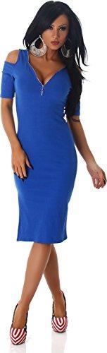 Jela London Damen Feinripp Kleid Party Abend Cocktail Minikleid Schulterfrei Kurzarm Reißverschluss Blau