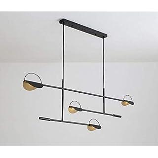 ZXM LED Pendelleuchte Satelliten Pendellampe Geometrie Linie Lüster Schmiedeeisen Lampenschirm Hängelampe postmodernen kreativen Kunst Lampe minimalistischen G4 × 4 Lampenfassung,Schwarz