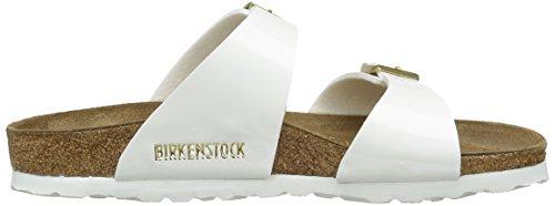 Birkenstock Sydney, Sandales femme Blanc (Vernis Blanc/Or)