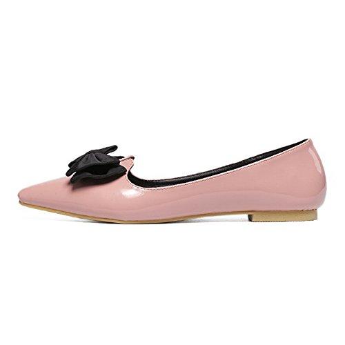 d16b319207251 ... AalarDom Damen Spitz Zehe Ziehen Auf Ohne Absatz Weiches Material  Flache Schuhe Pink-Lackleder ...